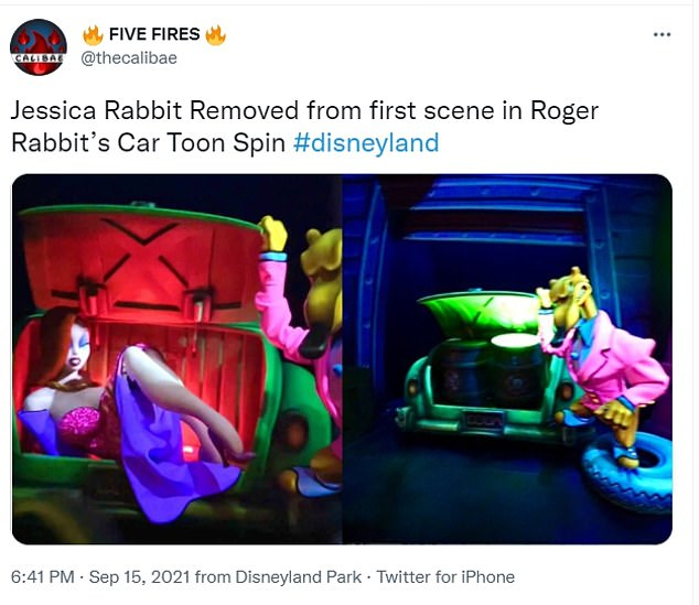 A user on Twitter noticed that Jessica Rabbit in a scene from the ride had already been replaced with a barrel of cartoon-erasing paint thinner