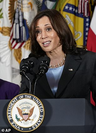 Anderson said: 'I think maybe the question is why is it taking so long for the United States to get a female leader... [Vice President] Kamala Harris.  Maybe this is the next step