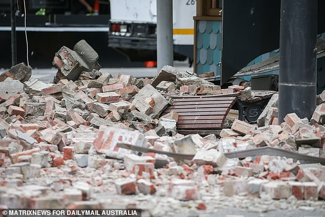 Rubble is pictured outside the Betty's Burgers on Chapel Street after the building was damaged by Wednesday's earthquake
