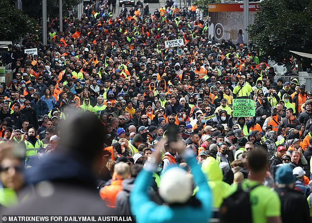 Thousands of tradies and anti-vaxxers marched on the streets of Melbourne on Monday and Tuesday