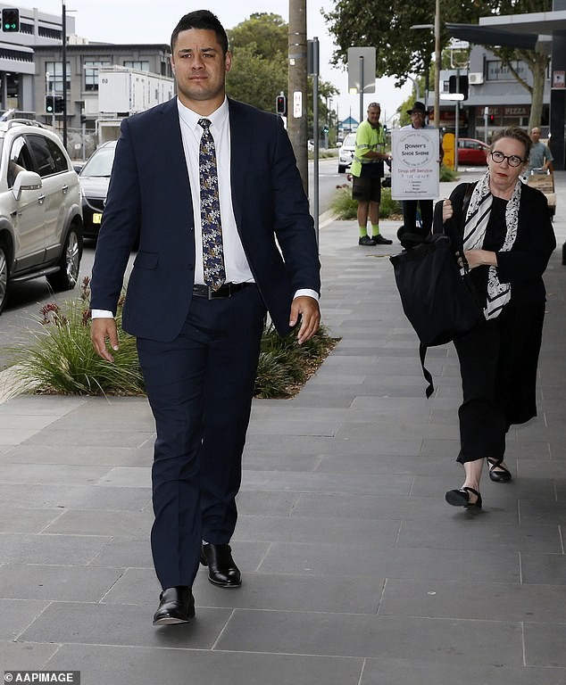 Hayne pictured outside Newcastle Court in December.The victim, a woman aged in her late 20s, is claiming damages for battery and assault in the NSW Supreme Court