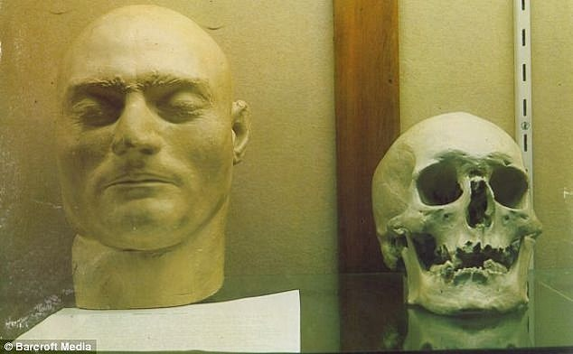 Ned and Fred: The death mask of notorious Australian bushranger Ned Kelly was displayed for years alongside a skull thought to be his, but which was later suspected to be that of Deeming. The skull (pictured, right) was discovered in the burial grounds of the old Melbourne Gaol