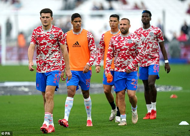 United have probably rested Ronaldo (third right) along with Paul Pogba (far right), Harry Maguire (far left) and Rafael Varane (second right).