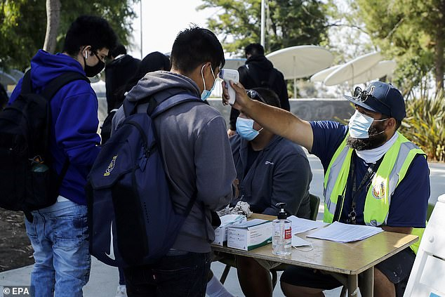 Robust testing and COVID detection programs can help schools limit the spread of the virus and control the outbreak, which has hit the early part of the new school year.  Pictured: Students in Los Angeles, California check their temperatures at the start of the school day on August 30