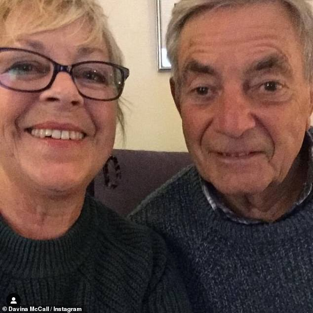 Cute:The sweet snap showed Andrew alongside her beaming step-mum Gaby, who cared for her husband before admitting him to a care home
