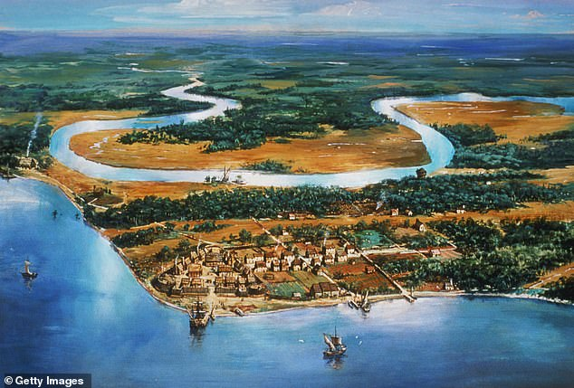 The Village of Jamestown, circa 1615.  A group of poor farmers, indentured servants and African slaves, led by Nathaniel Bacon, attacked Governor William Berkeley in 1676, burning Jamestown to the ground.