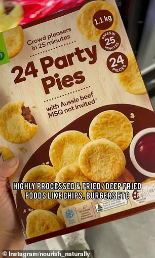 Other highly processed foods such as party pies and hot chips should also be avoided.