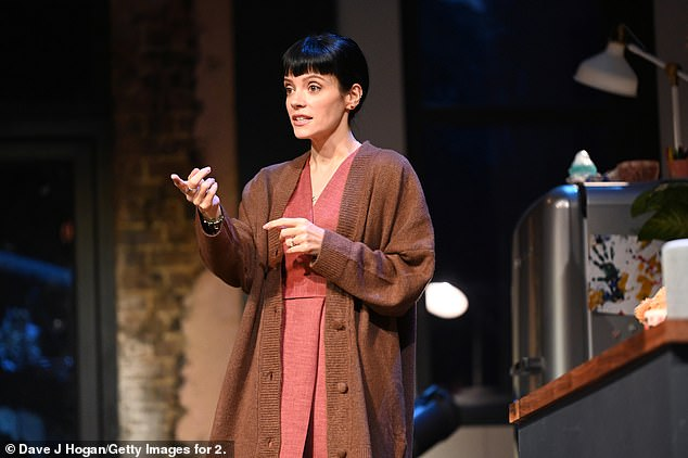 What's up?  Lily Allen reportedly 'fell sick' after her performance in 2:22 A Ghost Story on Wednesday (pictured on stage in the play last month)