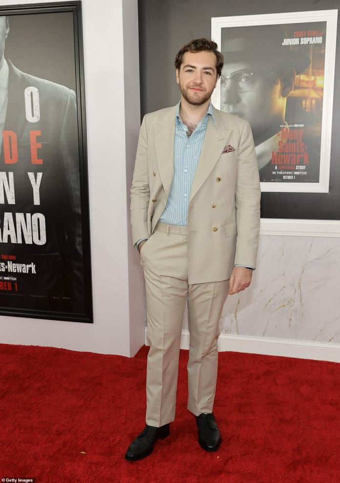Big shoes to fill:James Gandolfini's son Michael, who will portray teenage Tony Soprano in the forthcoming feature, hit the red carpet in a stylish beige suit jacket and matching trousers