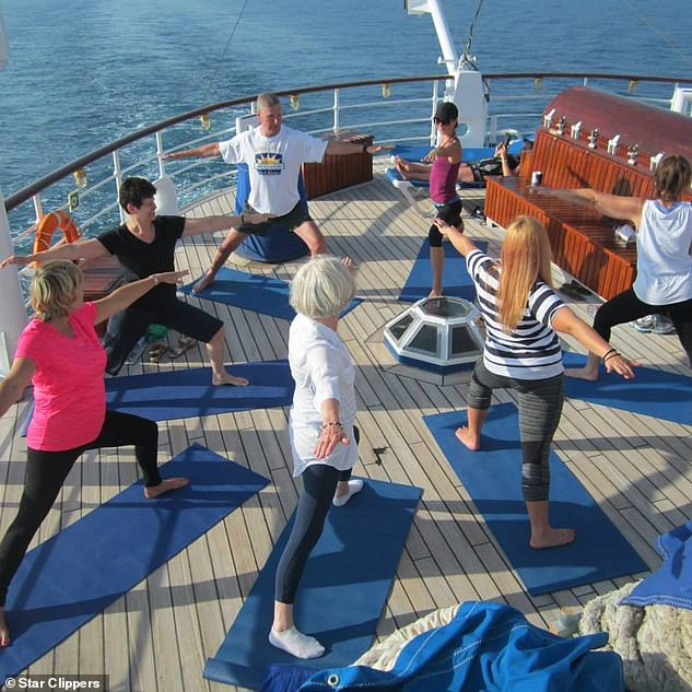 Sail to serenity: Practising yoga on board a Star Clipper. Enthusiasts can either learn the basics or hone their technique on the ship'syoga-themed sailings