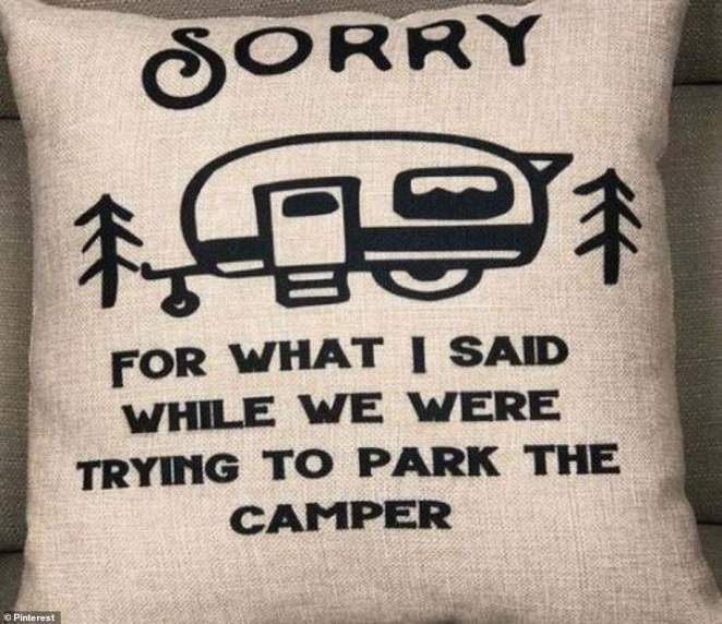 A photo he reposted of a pillow embroidered with the quote 'sorry for what I said while we were trying to park the camper,' cannot be missed