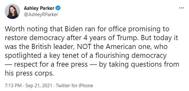 The Washington Post's White House bureau chief Ashley Parker was critical of Biden in a Tuesday night tweet