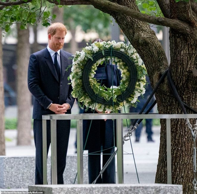 The Sussexes visited both pools at the memorial and took a moment of silence by a wreath to pay their respects