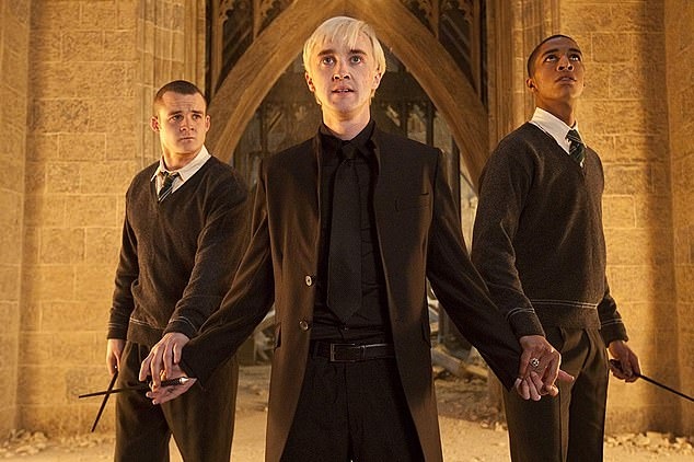 Felton (middle) played villain Draco Malfoy in the Harry Potter film franchise
