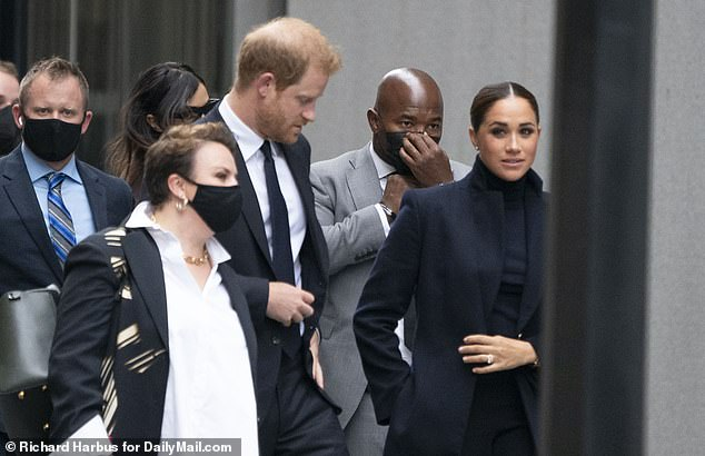 Prince Harry and his wife Meghan Markle arrive at the World Trade Center Observatory