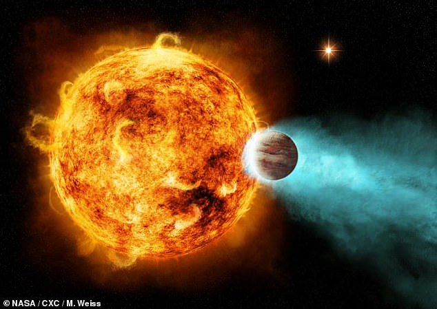 Artist's illustration of 'Hot Jupiter'.  According to NASA, 'Hot Jupiter' planets are gaseous giants that orbit their stars closely