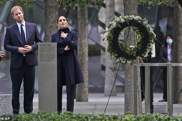 Meghan Markle and Prince Harry pause while getting a tour of the National September 11 Memorial & Museum in New York