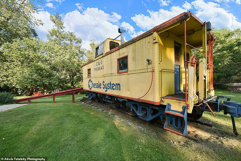 Another bonus: Guests have full use of the property, which sits on almost two acres and includes a vintage train caboose