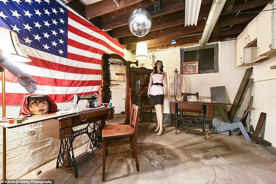 Creepy: Dubbed 'Buffalo Bill's Workshop of Horrors,' the room comes complete with a disco ball, four female mannequins, a full-length mirror, and a kimono