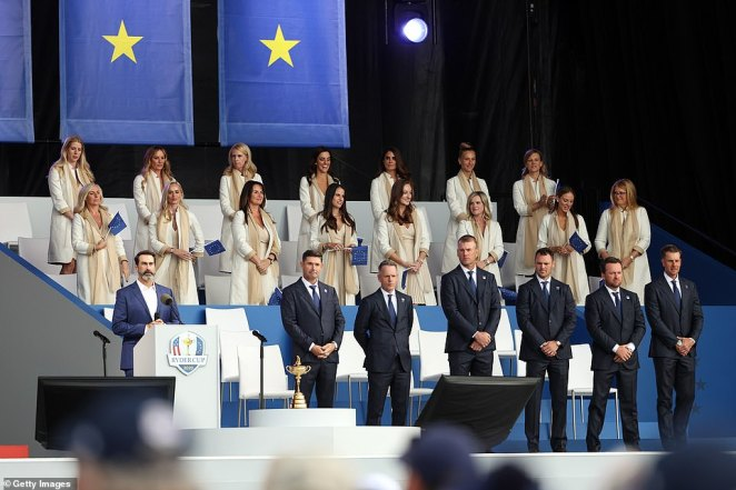 The wives and girlfriends were seated just above Team Europe ahead of the 43rd edition of the prestigious tournament