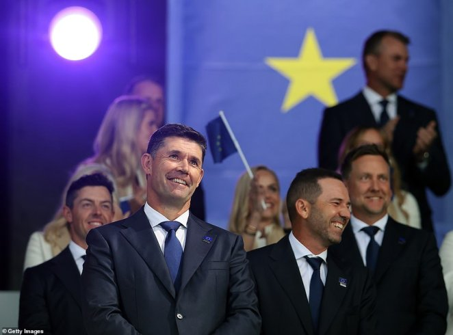 Captain Padraig Harrington gave a speech in the opening event as he announced the pairings for Friday's foursomes