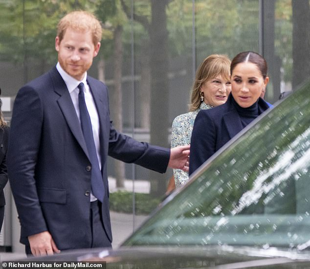 Prince Harry and Meghan arrive at the 9/11 Memorial Thursday morning as part of their four-day tour of New York City