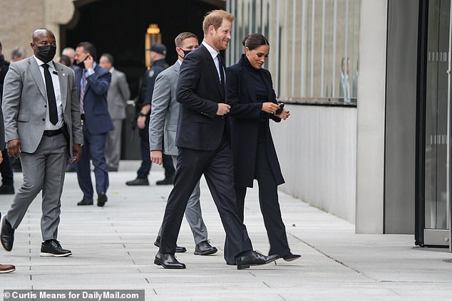 Prince Harry and Meghan Markle arrive at One World Trade Center where they're greeted by the New York State governor and New York City mayor