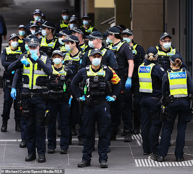 A large presence of police are seen during a major operation to disrupt planned Hi-Vis Anti-lockdown protests in Melbourne