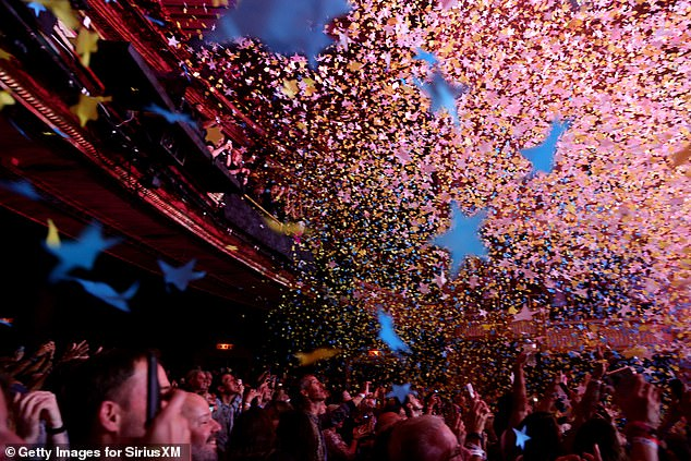 Sensational: Confetti and stars filled the auditorium as the concert came to a sensational end