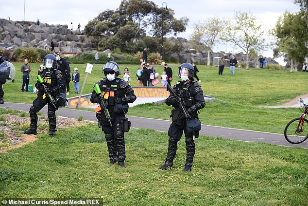 The riot squad (pictured) were called in this week as the protest took a violent turn in Melbourne's CBD