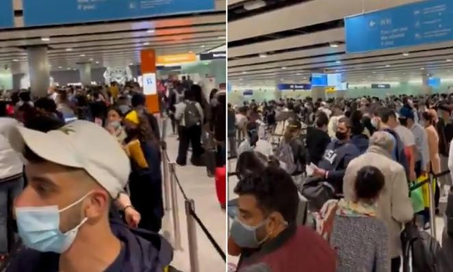 Passengers have been queuing for three hours this morning at Border Control with Heathrow Airport admitting that wait times are at 'unacceptable levels' via its Twitter account. Young families have been hit worst because they can't use e-gates