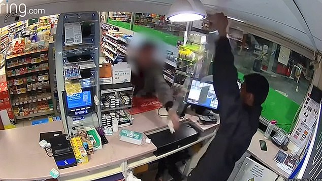 The man began aggressively smashing up the counter and throwing displays at the cashier