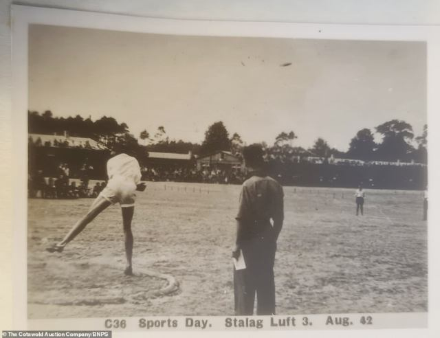 Stalag Luft III was established in March 1942 and held captured Allied air force personnel. It was liberated by the Russians in January 1945. Above: An inmate competing in the discus event