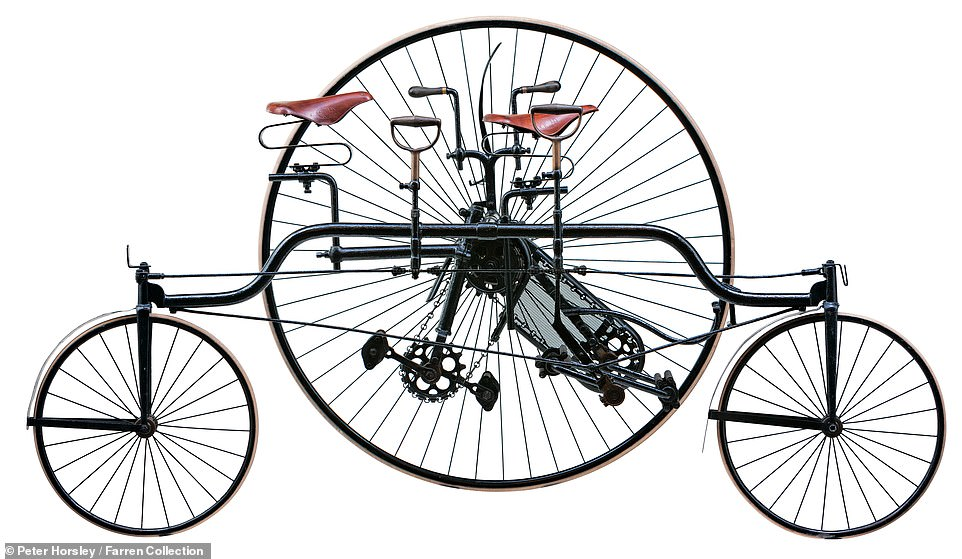 This is a Coventry Rotary Convertible Tandem Tricycle, made by Rudge Cycle Co., Coventry, in 1882. Mr Farren explained that it could be steered from the front or rear