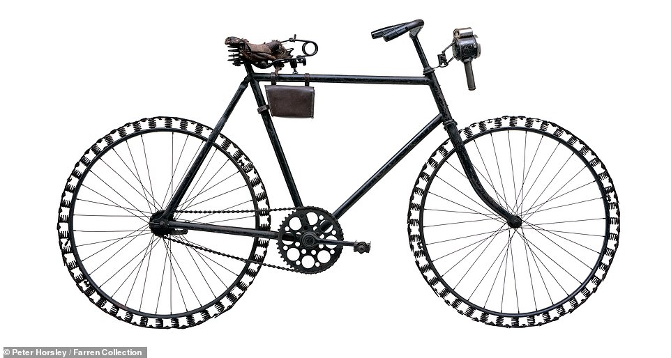 During the early part of the First World War, Germany had very little access to rubber as most of the plantations were in British hands, so this bicycle - a German officer's machine dating to 1914-18 and possibly made by Opel - was the result of some necessary improvisation. It had leather on the outside of the wheel rims riveted to laminated spring steel, which sat on valve springs