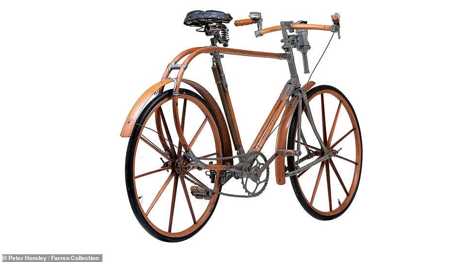Pictured here is a rare bicycle called La Souplette, made in Paris in 1897. Mr Farren said that this example - 'the only one with wooden wheels and front suspension' - was one of his wife Charlie's favourite bikes