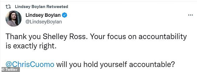 Lindsay Boylan, the first woman to publicly accuse Andrew Cuomo of sexual harassment, praised Shelley Ross for seeking to hold Chris Cuomo accountable