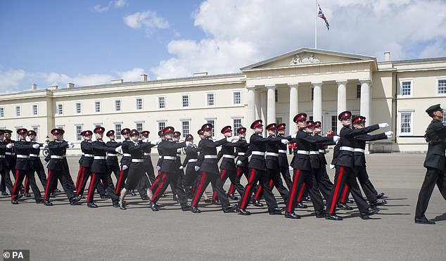 It is forbidden for employees of the world-renowned Sandhurst Academy (pictured above) to engage in any intimate or physical conduct with trainees
