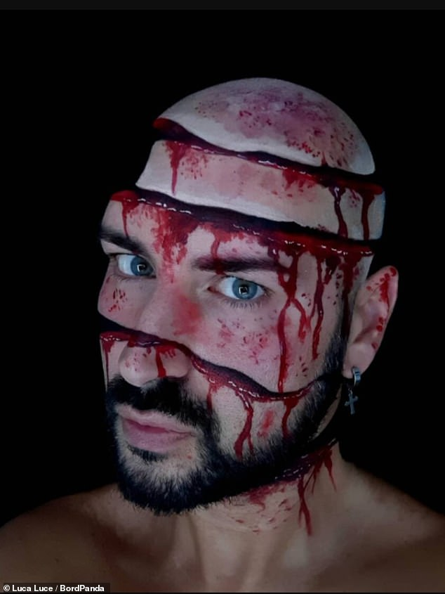 Bloody hell! In this snap, Luca appeared to cut up and chop his face - but incredibly it's all done with make-up
