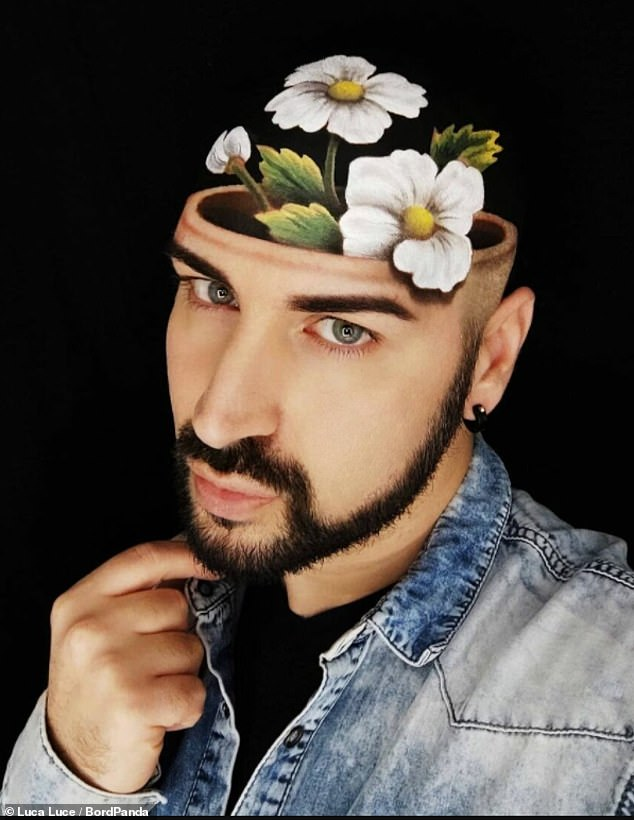 A flowery start! Another shot showed Luca with a flower pot growing out of his head in a very realistic illusion