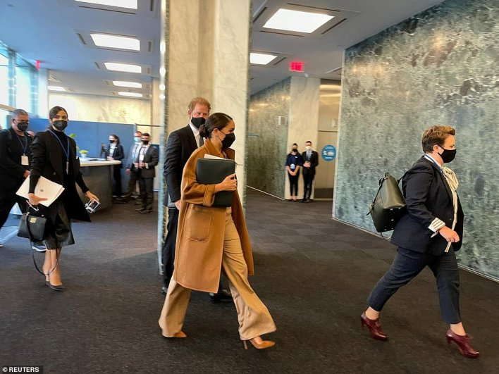 Prince Harry and Meghan Markle arrive at the United Nations building for the meeting with the UN Secretary-General