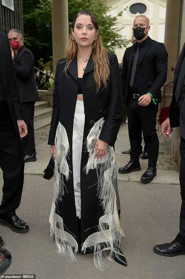 Looking good: Ashley Benson, 31, showed off her fashion credentials while attending the Salvatore Ferragamo show at Milan Fashion Week on Saturday.