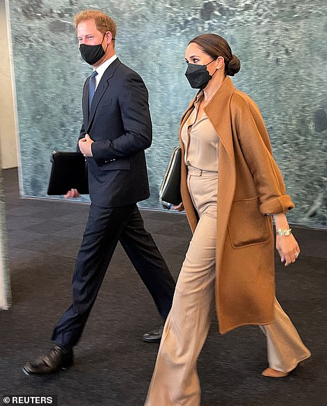 The couple were spotted leaving the UN building in NYC following the roughly hour-long meeting at the Manhattan offices