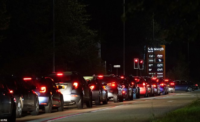 Mr Shapps said the rush to forecourts which has seen lengthy queues at stations across the country 'will come to an end' because soon 'everyone's cars will be more or less filled up'.