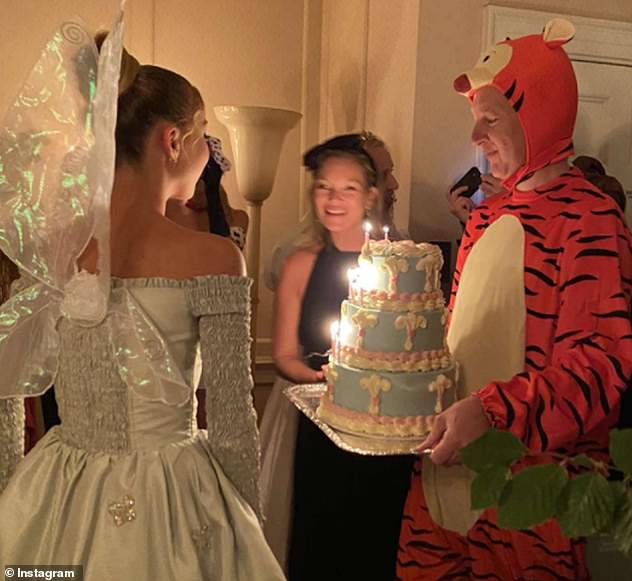 Fairy cake:Lila celebrated her 19th birthday at a spectacular Disney-themed party last week, where she channelled the spirit of Tinker Bell