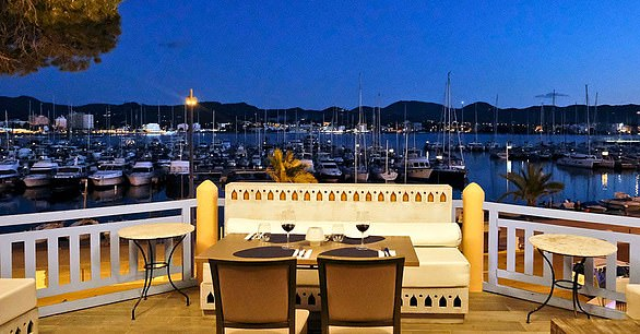 The view over the marina from the terrace at Villa Mercedes