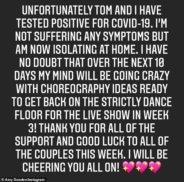 'My mind will be going crazy with choreography!': Amy took to Instagram to share the news