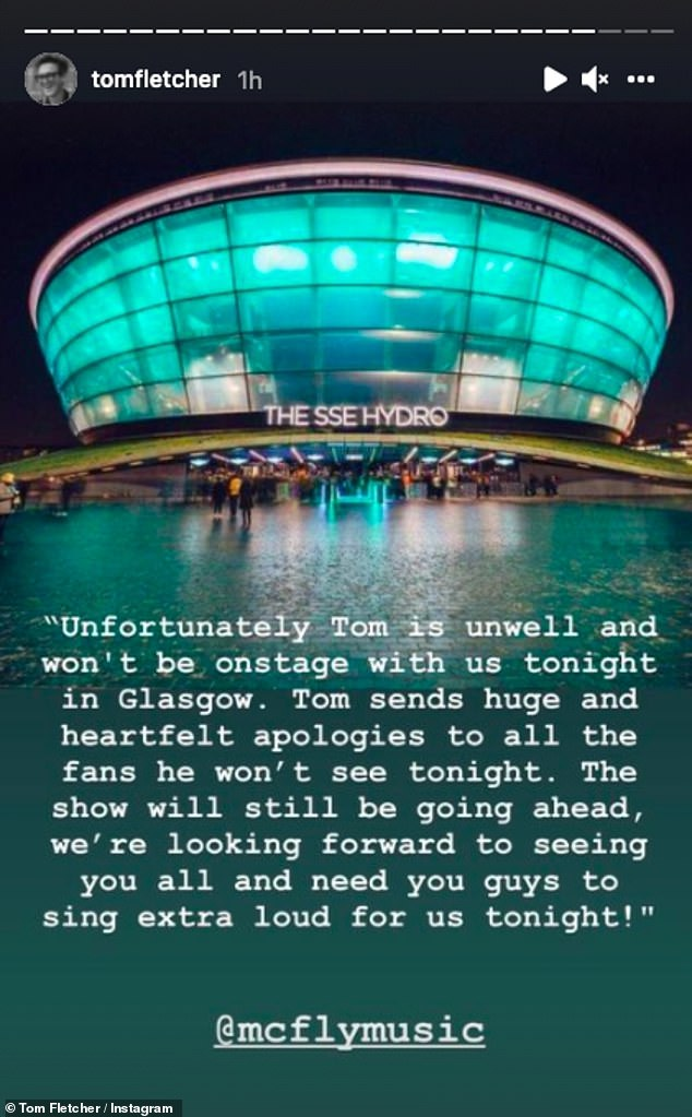 Too sick: Tom was forced to pull out of a McFly show in Glasgow because he was feeling too unwell with the illness