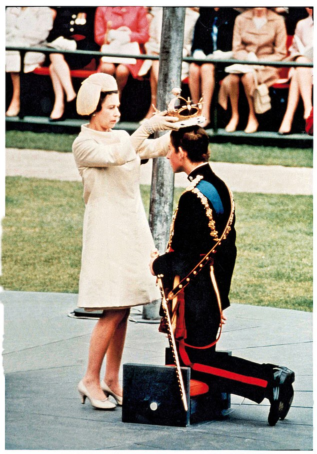 Charles preferred to cycle around Cambridge and his Special Branch guards did not want to embarrass him by sticking too close behind. Pictured, the Investiture of the Prince of Wales in 1969