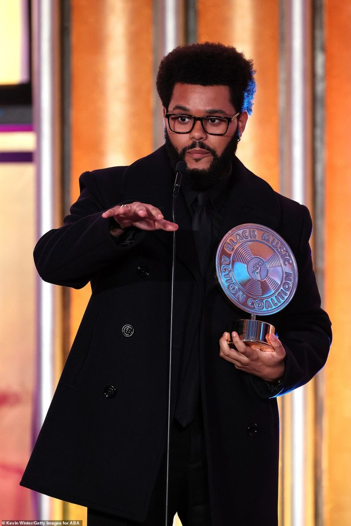 'This is the best award I've ever gotten in my life': The Weeknd was honored with the Quincy Jones Humanitarian Award at the Music in Action Awards Ceremony in West Hollywood last Thursday